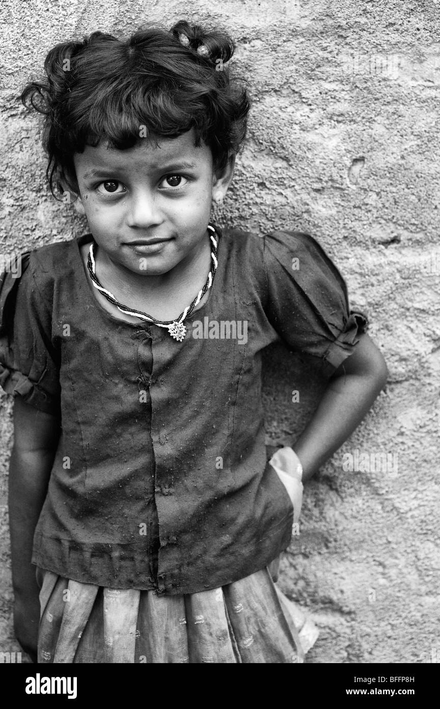 Small indian village girl portrait andhra pradesh india black and white