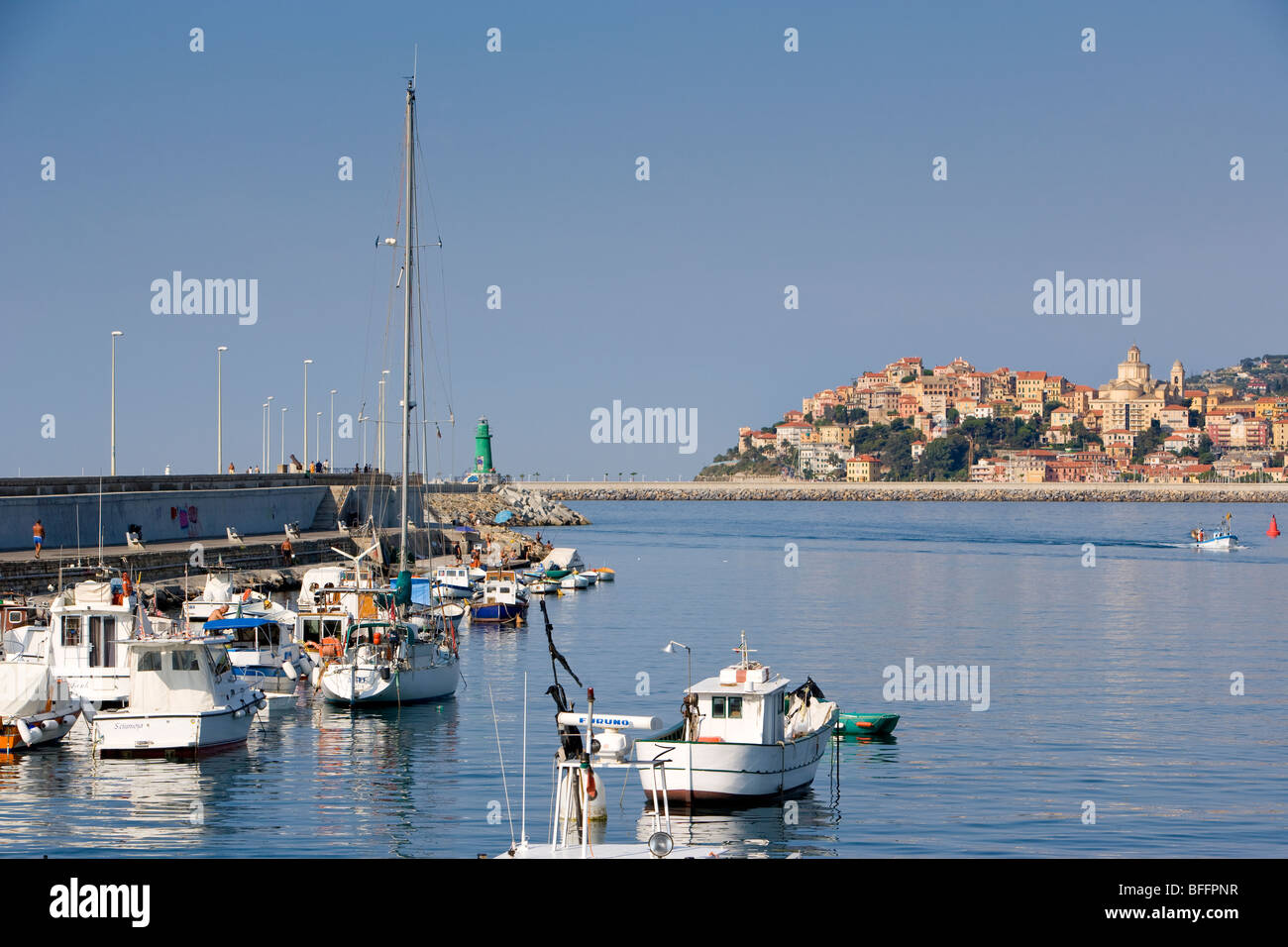 Harbour, boats and Imperia, liguria, Italy - Stock Image