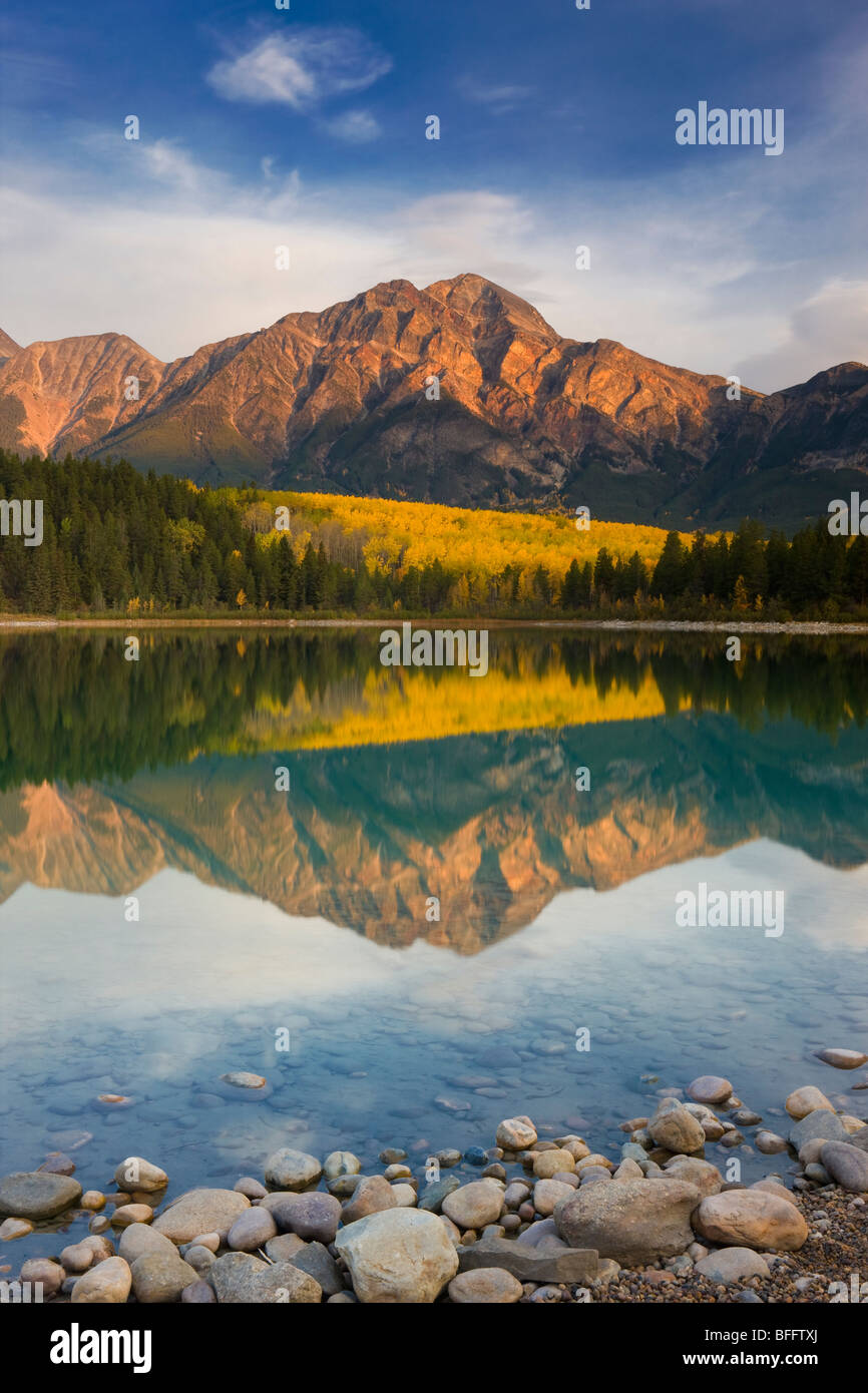 Pyramid Mountain reflected in Patricia Lake, Jasper National Park, Alberta, Canada - Stock Image