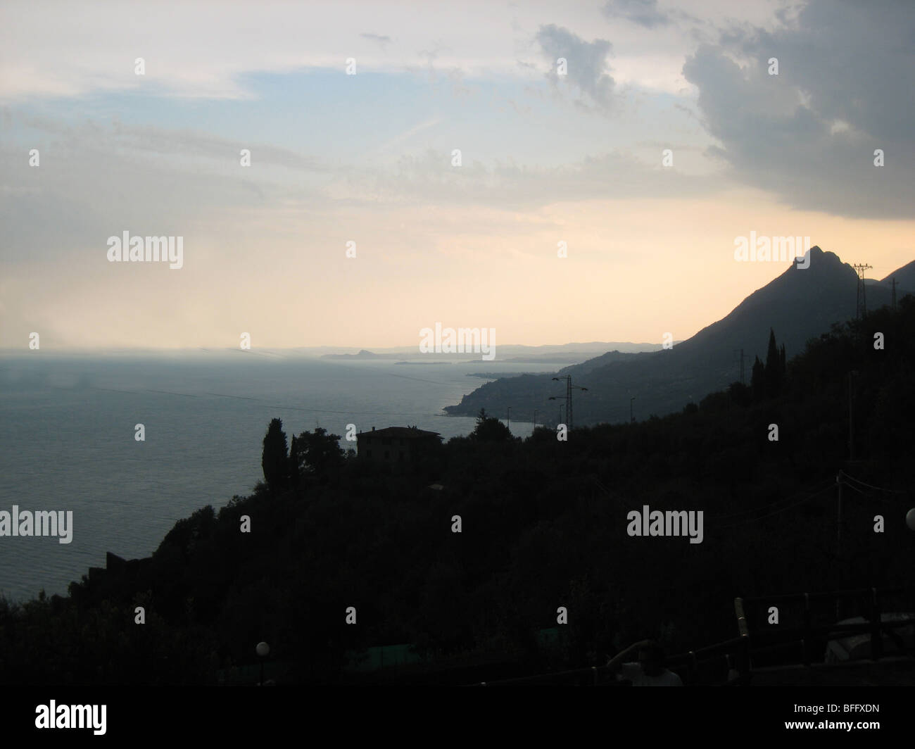 Evening view looking south on Lake Garda Italy after a summer storm - Stock Image