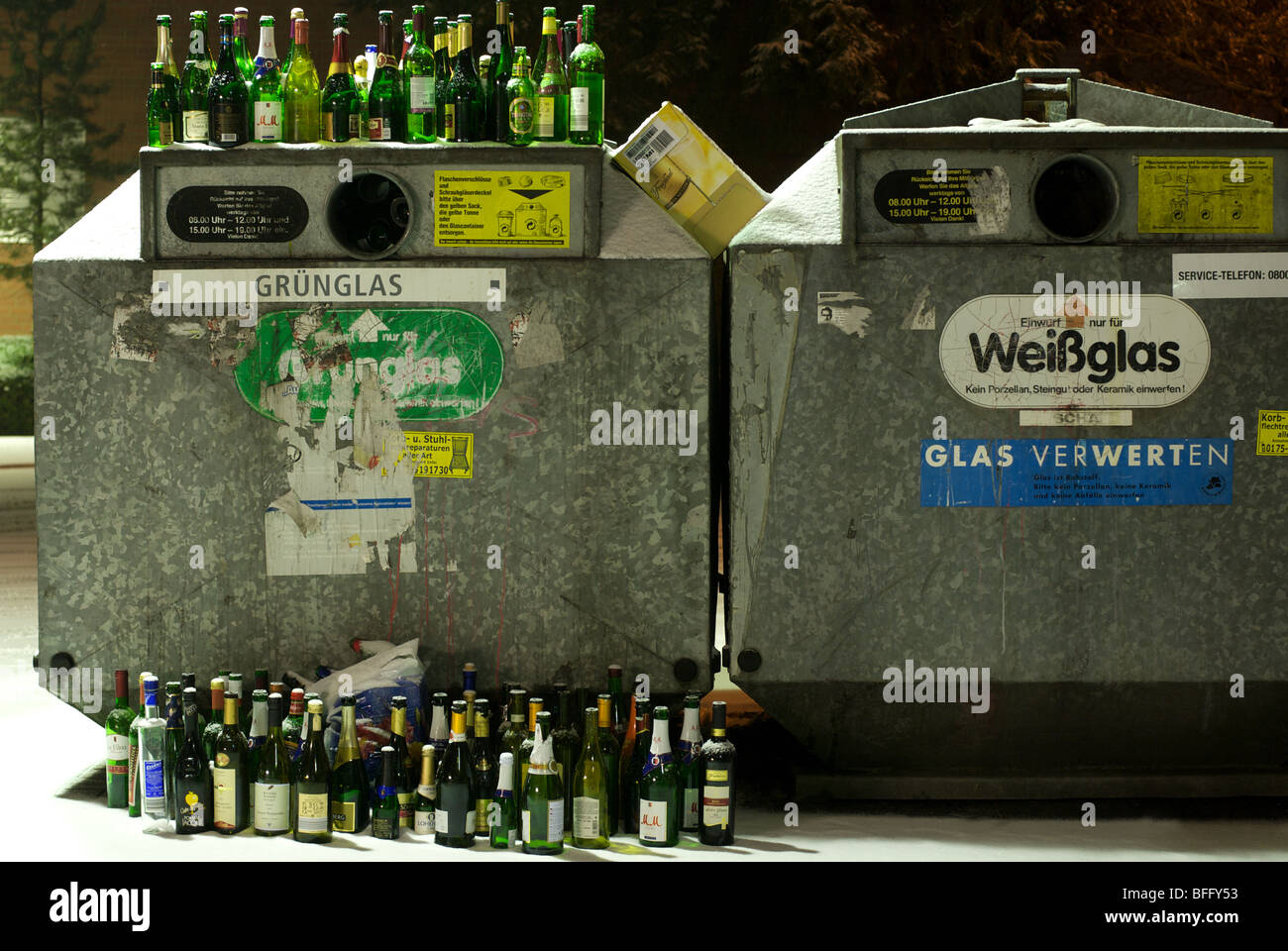 Full bottle bank after Christmas and New Year celebrations - Stock Image