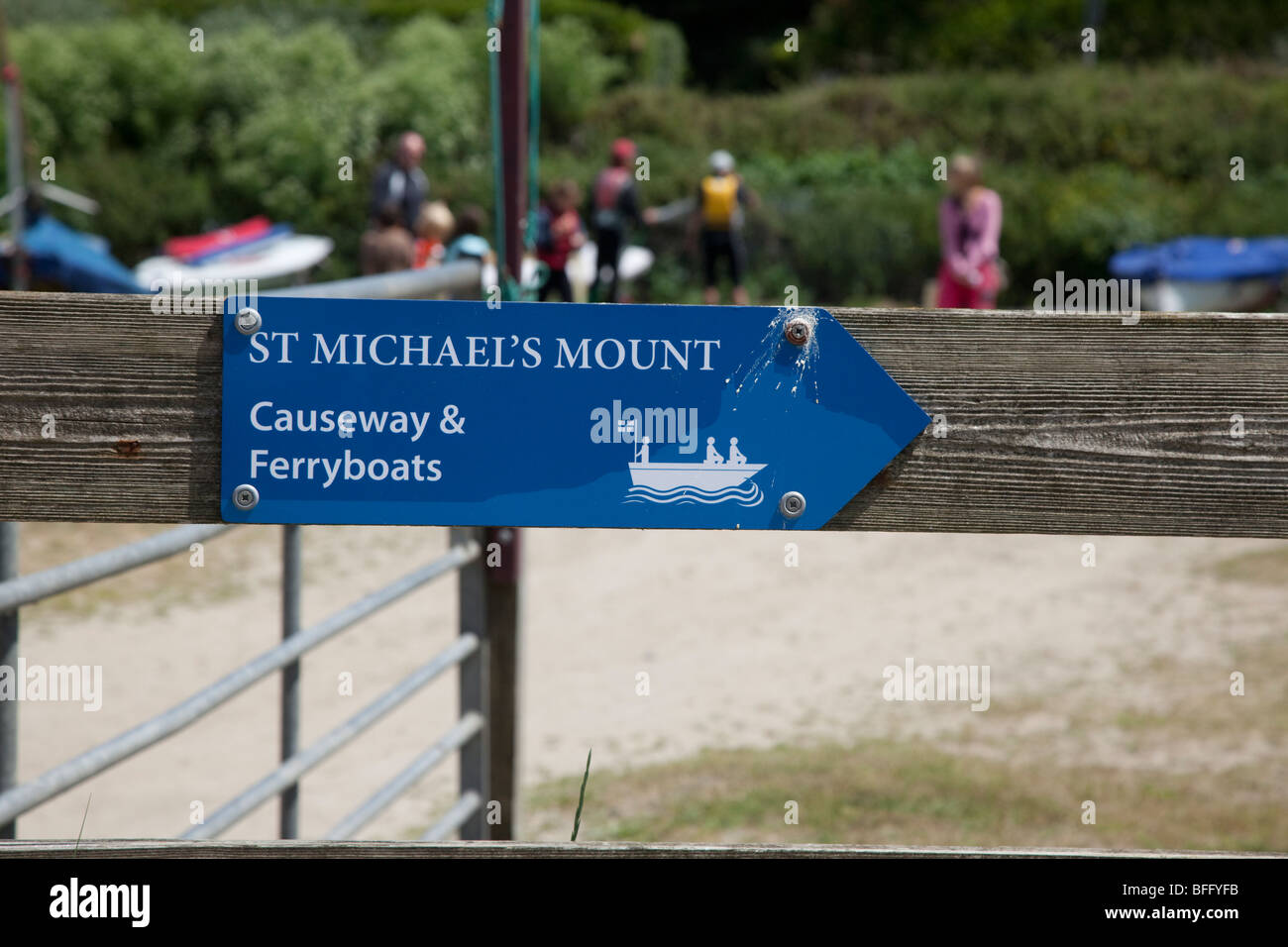 St Michael's Mount causeway and Ferryboats sign, Cornwall. - Stock Image