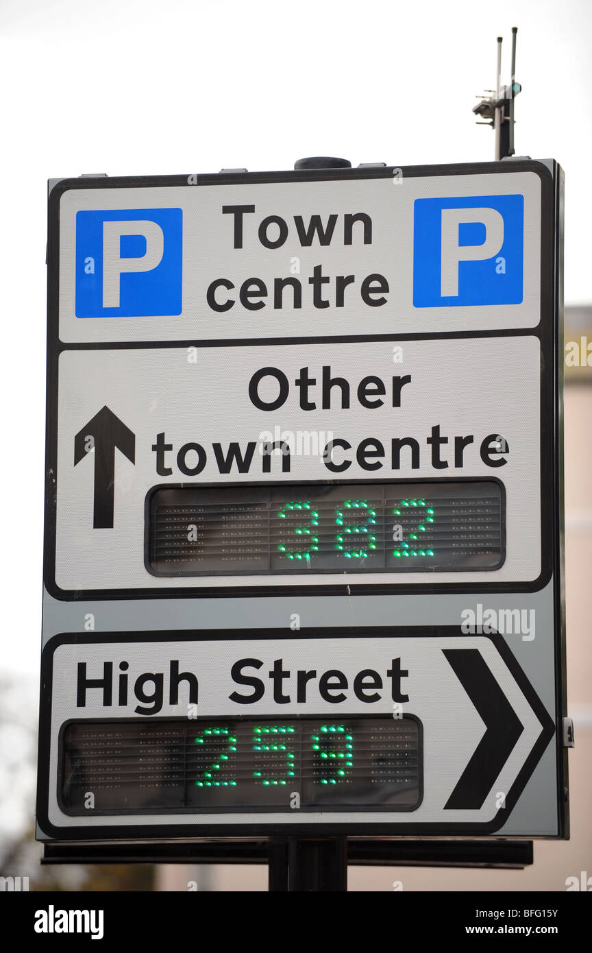 Generic high street town centre parking sign Stock Photo