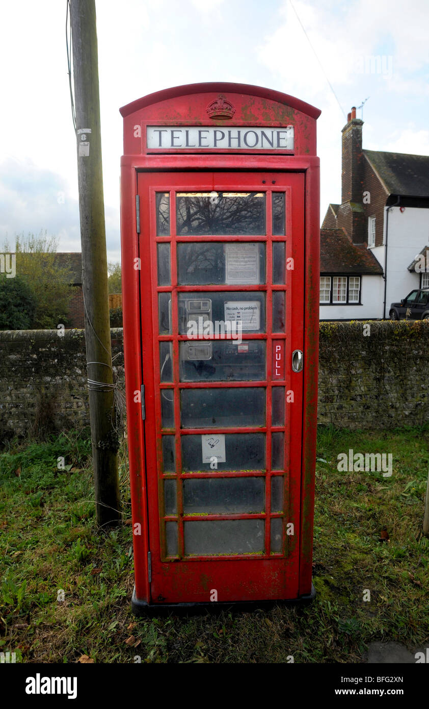 A red telephone box in south chailey - Stock Image