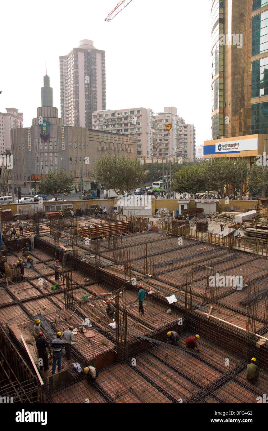 Construction work in Shanghai. China - Stock Image