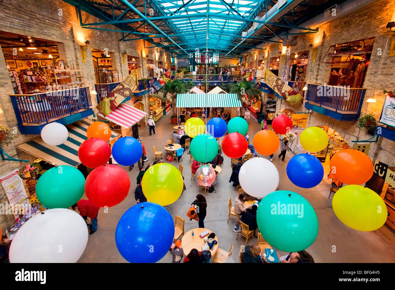 Inside The Forks Market, in downtown Winnipeg, Manitoba, Canada. - Stock Image