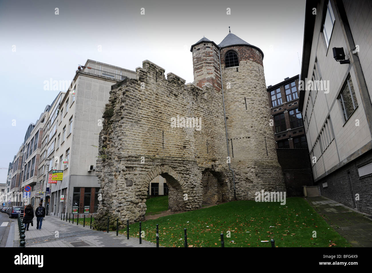 Tour D'Angle or Hoektoren a section of the old walls in the city of Brussels. Keizerslaan Street Brussels in - Stock Image