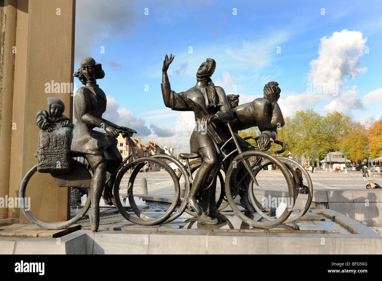Fountain and statues in The Zand square at Bruges in Belgium Europe - Stock Image