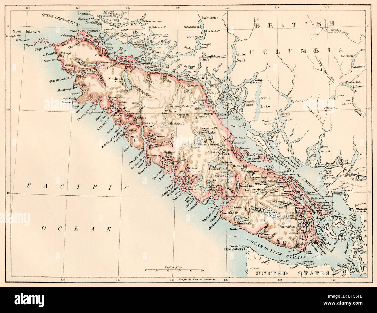 Map Of Vancouver Island British Columbia Canada 1870s Color