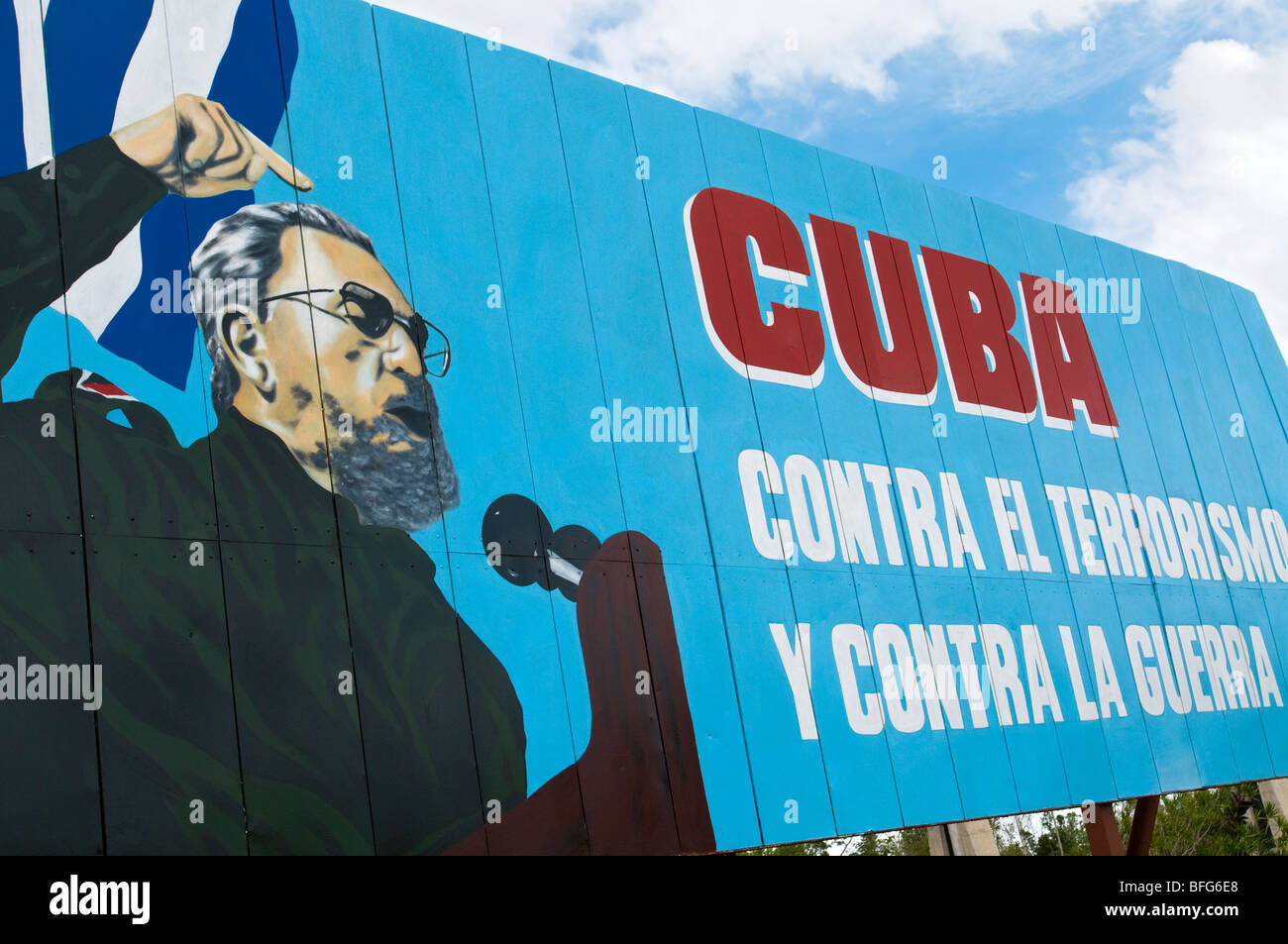Political propaganda billboard for Fidel Castro communism, Cuba - Stock Image