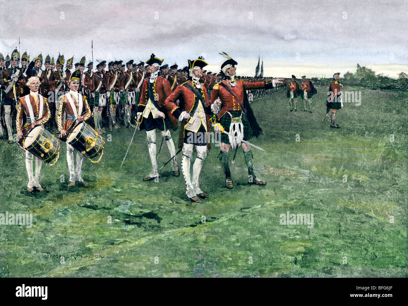 General Wolfe assembling the British army on the Plains of Abraham to take Quebec, 1759. Hand-colored halftone of - Stock Image