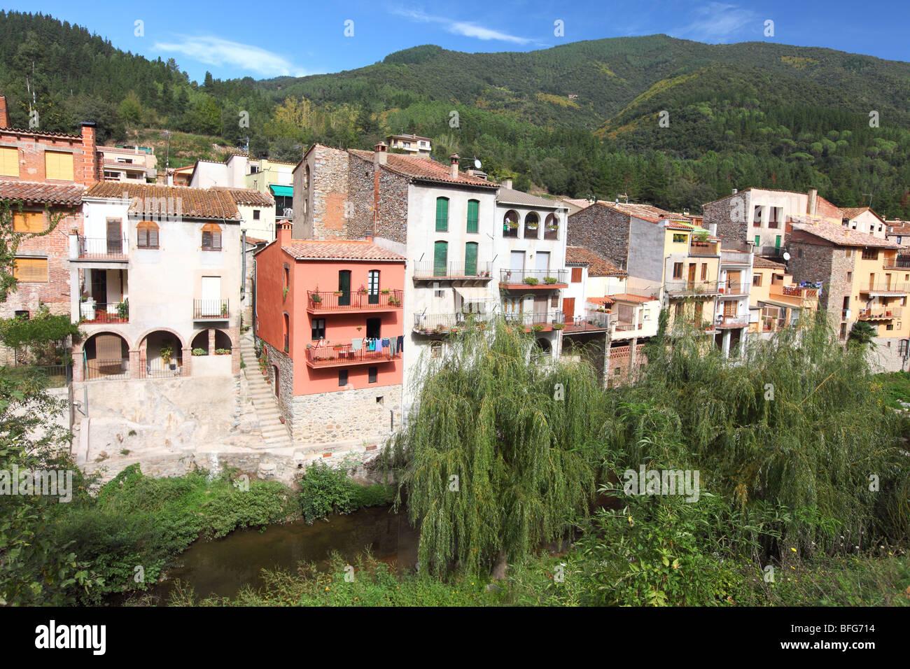 Spain, Cataluna, Catalonia, Catalunya, Costa Brava, in the mountains mountain village of Osor - Stock Image