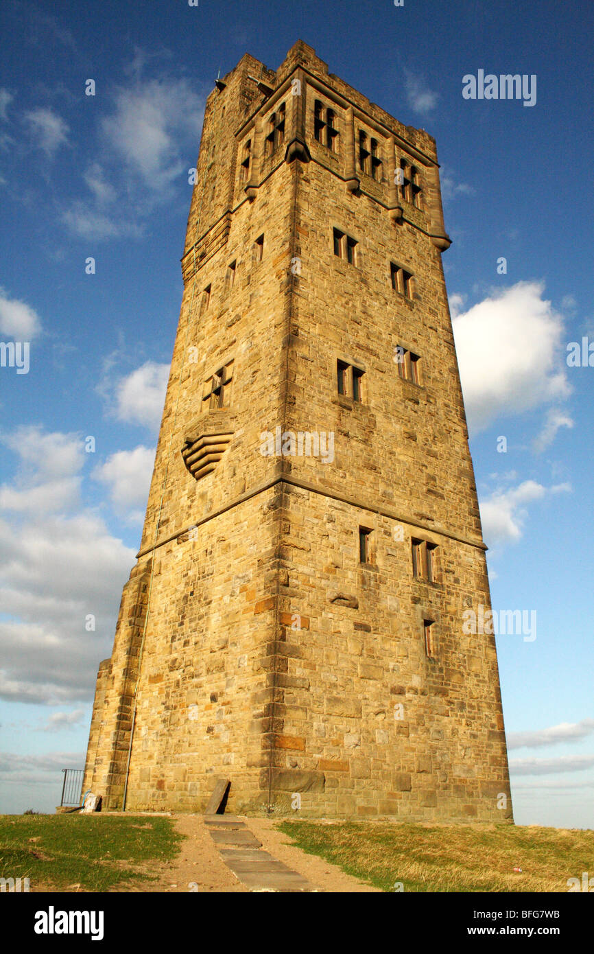Jubilee Tower Castle Hill  Huddersfield in Kirklees built to commemorate the reign of Queen Victoria - Stock Image