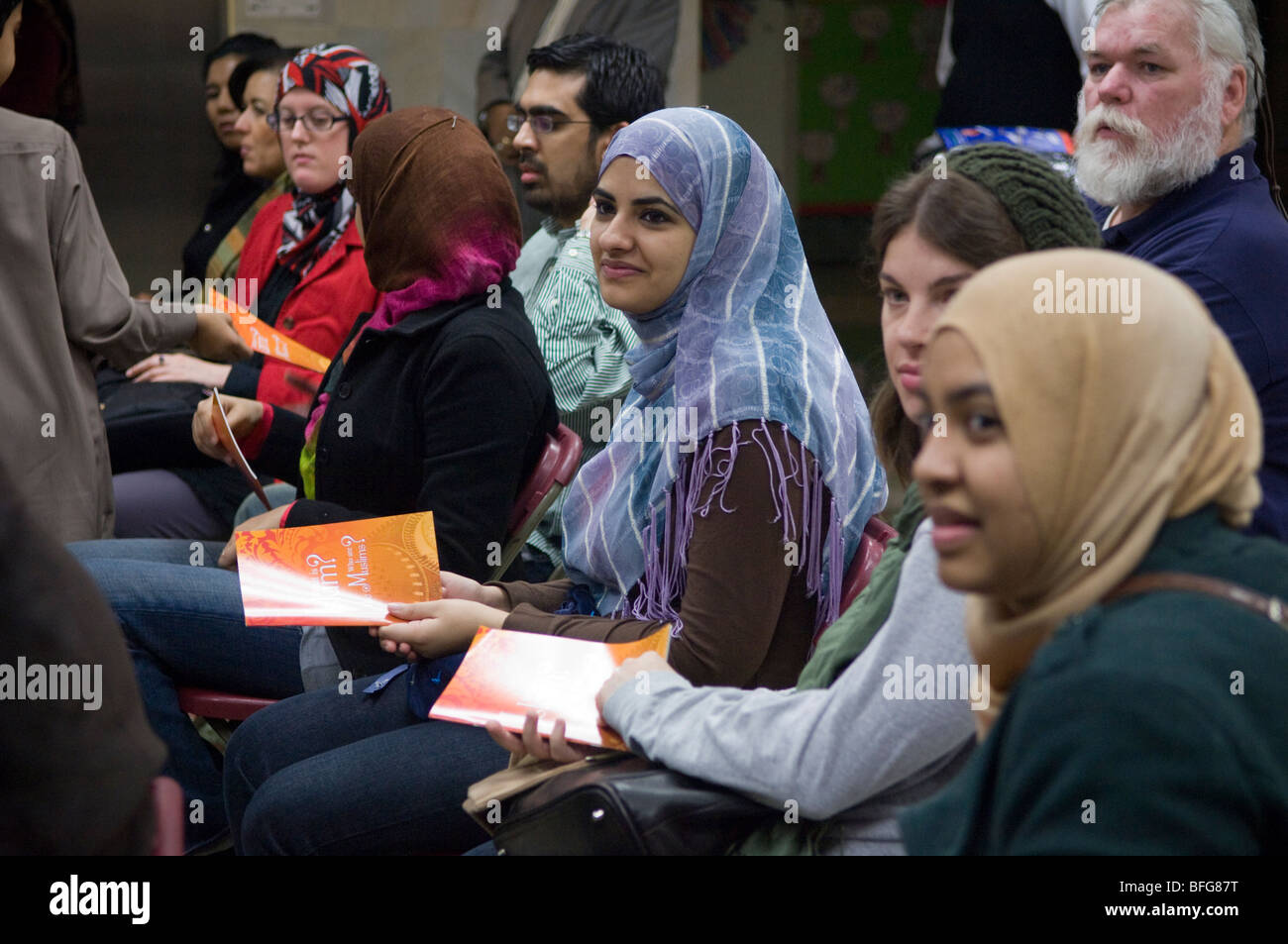 Muslim Center of New York during the Queens Interfaith Unity Walk in Flushing, Queens - Stock Image