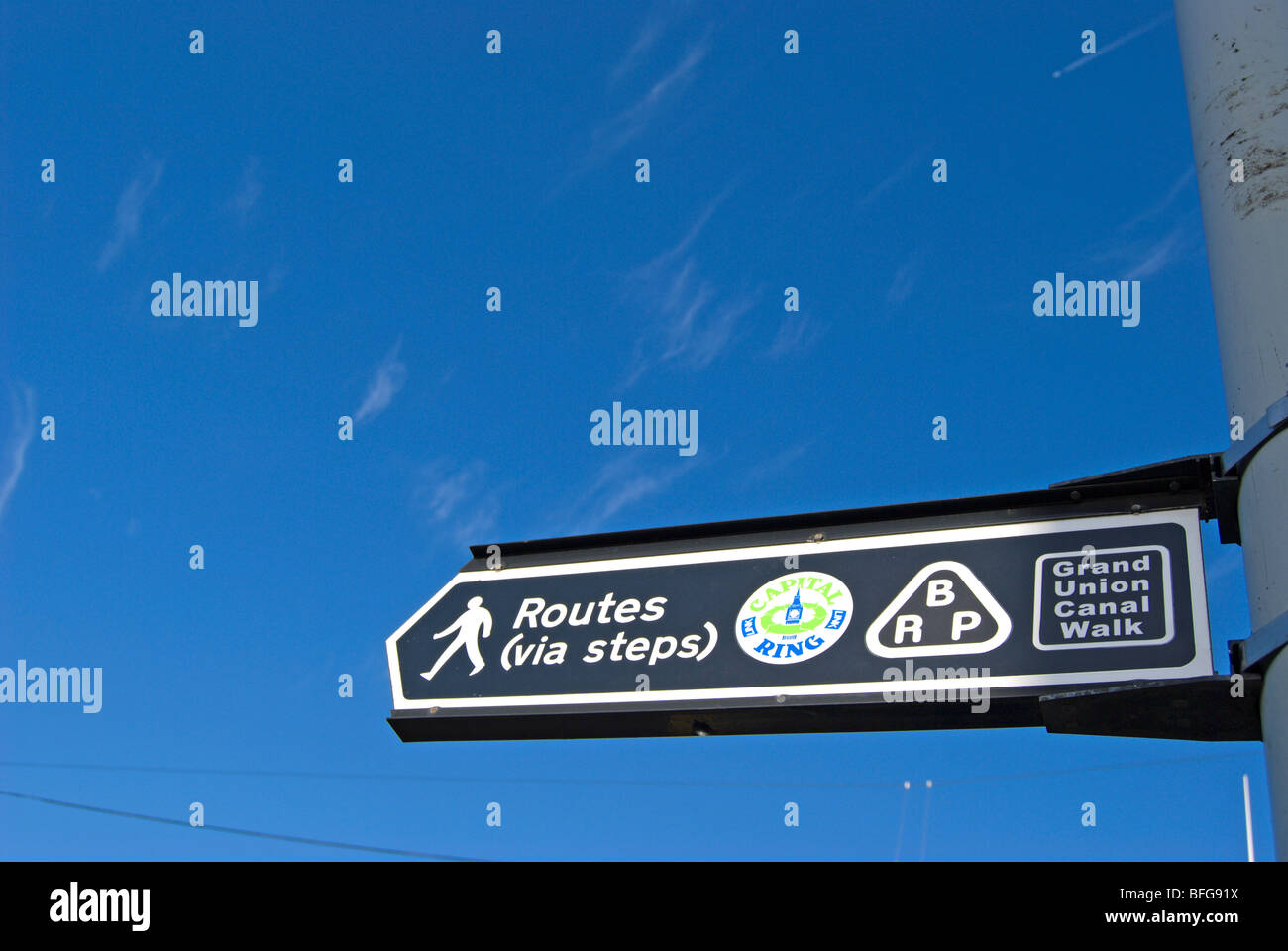 sign for walking routes via steps for the grand union canal, capital ring and brent river park in west london, england - Stock Image