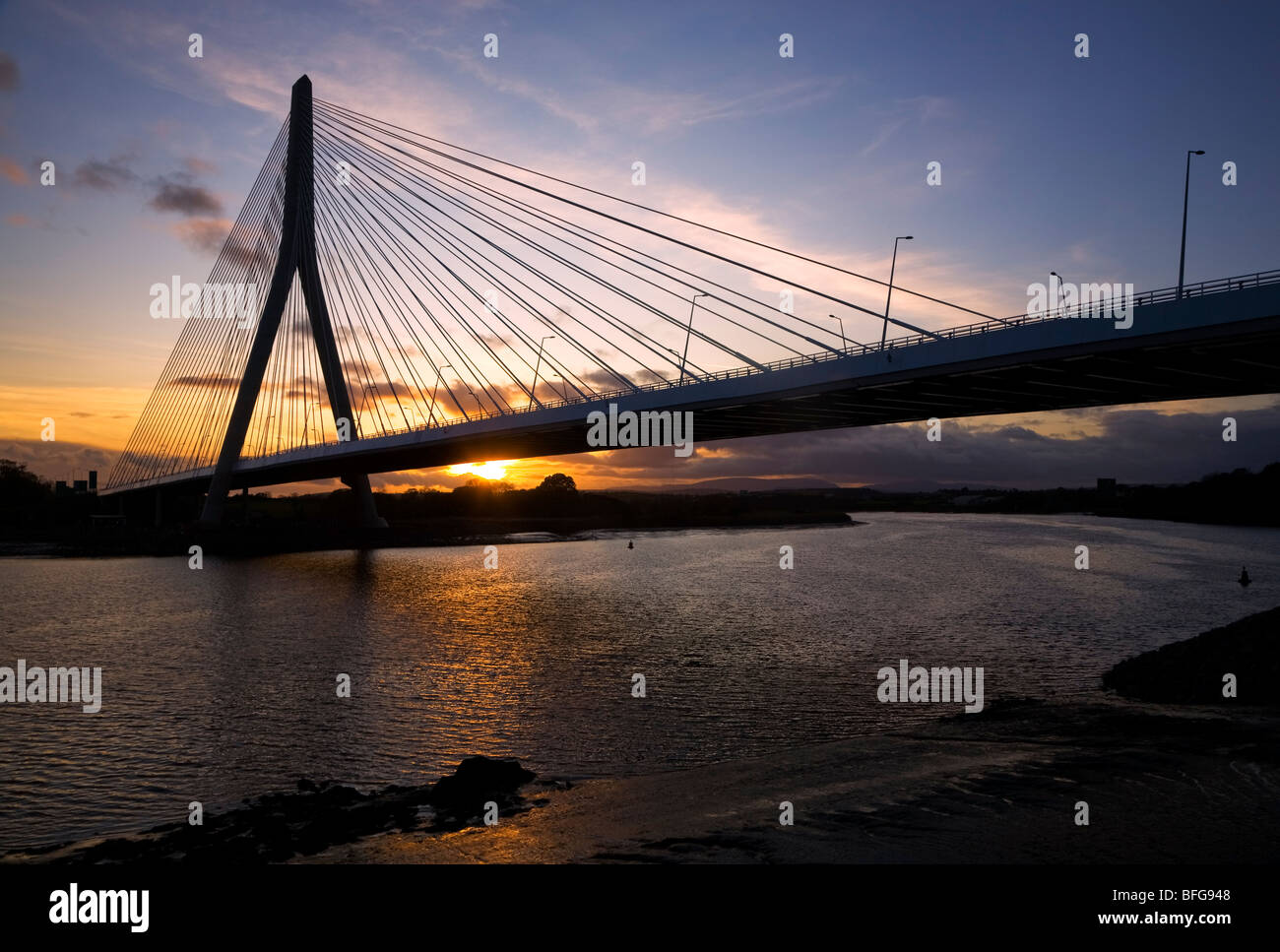 (New) Waterford Suir Bridge, The Longest Cable Stayed Bridge in Ireland, County Waterford, Ireland - Stock Image