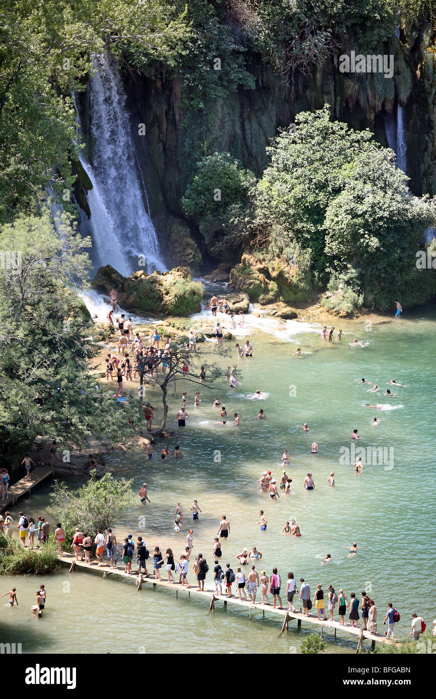 Bosnia and Herzegovina, Ljubuski district. People swarm on Trebizat River for swim and bath refreshment on hot summer - Stock Image