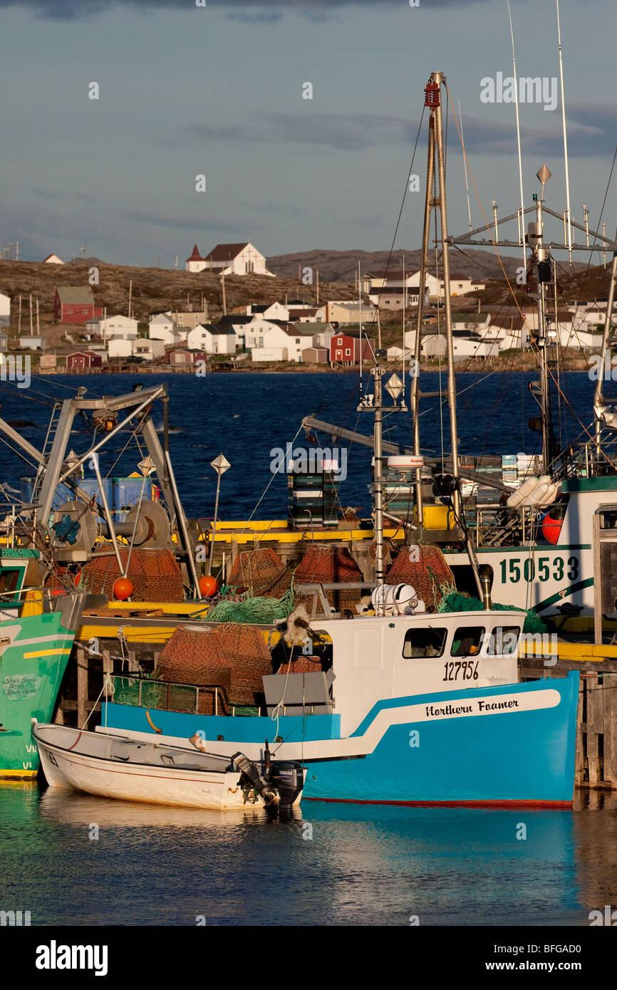 crab fishing boats, Joe Batt's Arm, Fogo Island, Newfoundlad & Labrador, Canada - Stock Image