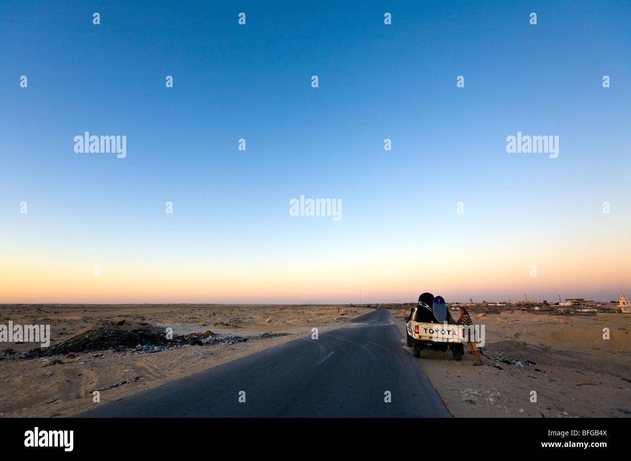 Mauritania, Ras Nouadhibou Peninsula, dusk. - Stock Image