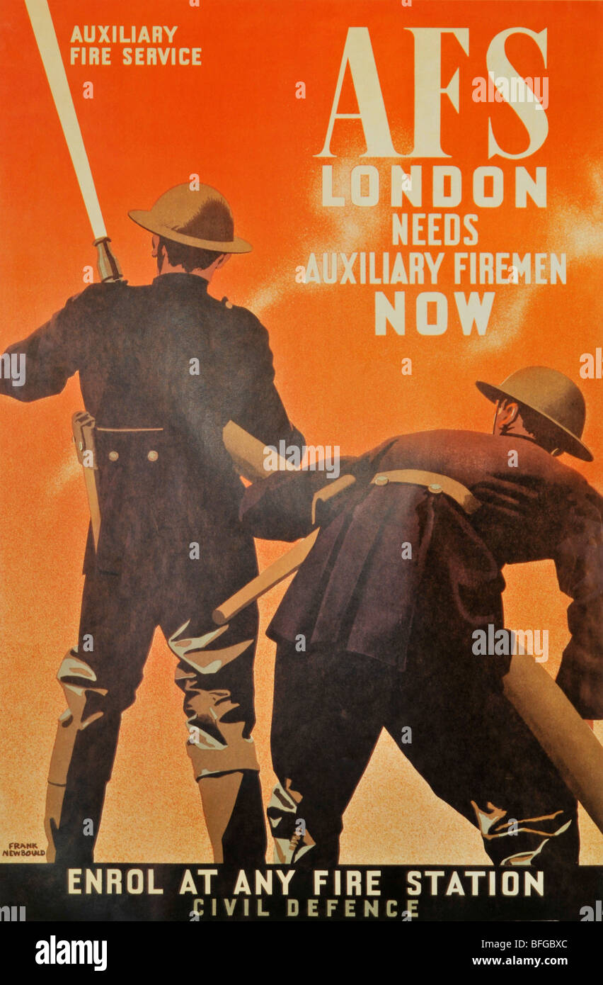 World War 2 AFS Auxiliary Fire Service poster - Stock Image