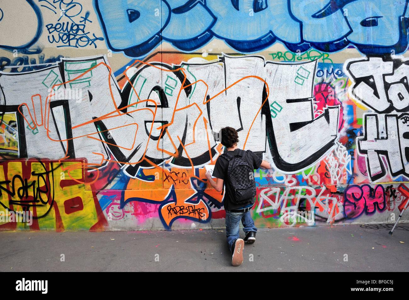 Paris France Street Scene Young Male Teen Street Graffer