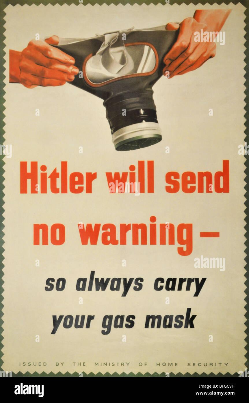 "World War 2 ""gas mask"" warning poster Stock Photo"