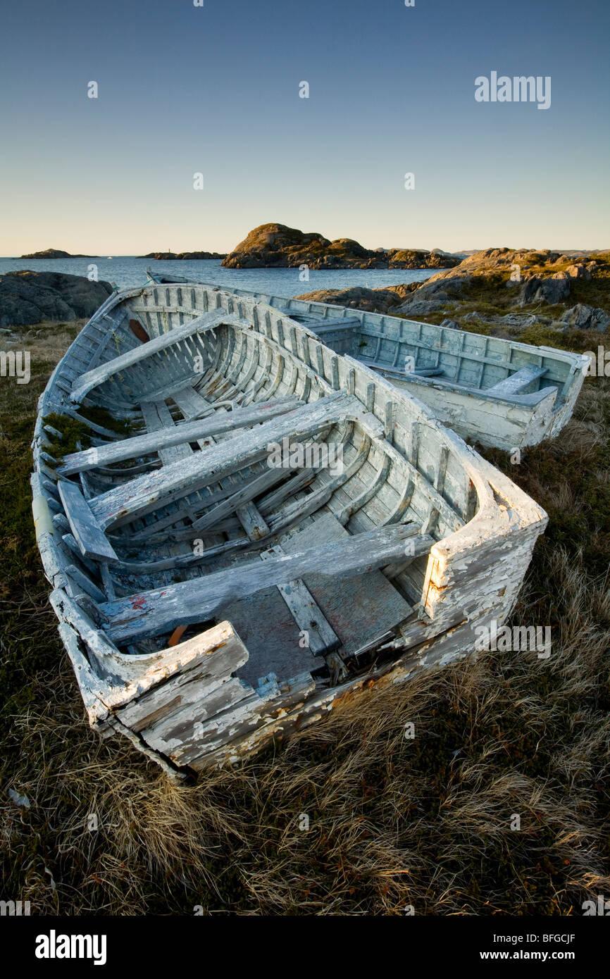 derelict boats, Change Islands, Newfoundland & Labrador, Canada - Stock Image
