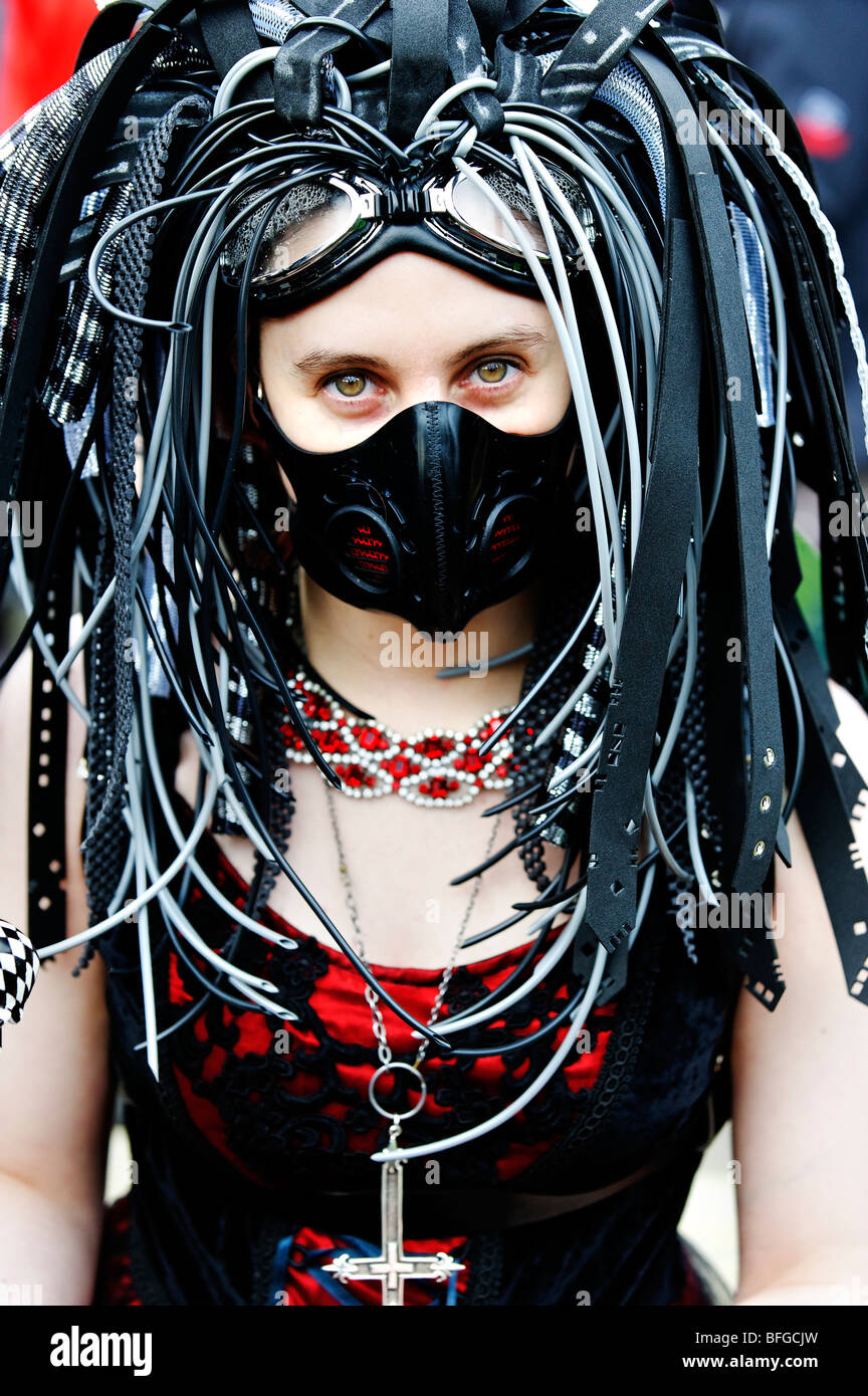 Young Woman In Cyber Goth Costume At Whitby Gothic