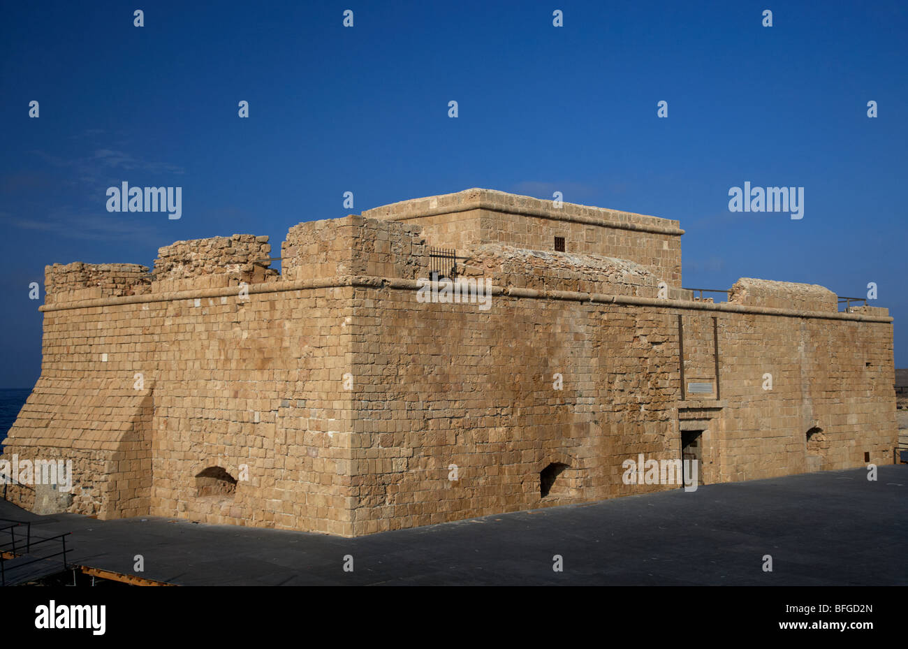 kato paphos mediaeval fort with stage built around the front harbour republic of cyprus europe - Stock Image