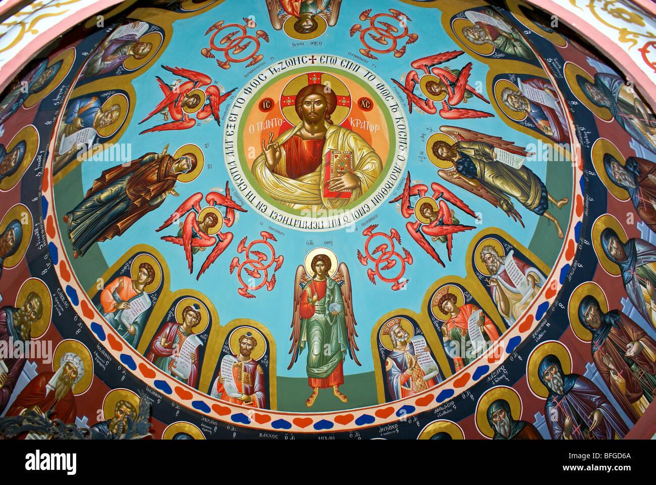 Fresco in Greek Orthodox Monastery of Mar Saba (St. Sabas) in Judean Desert, Israel - Stock Image