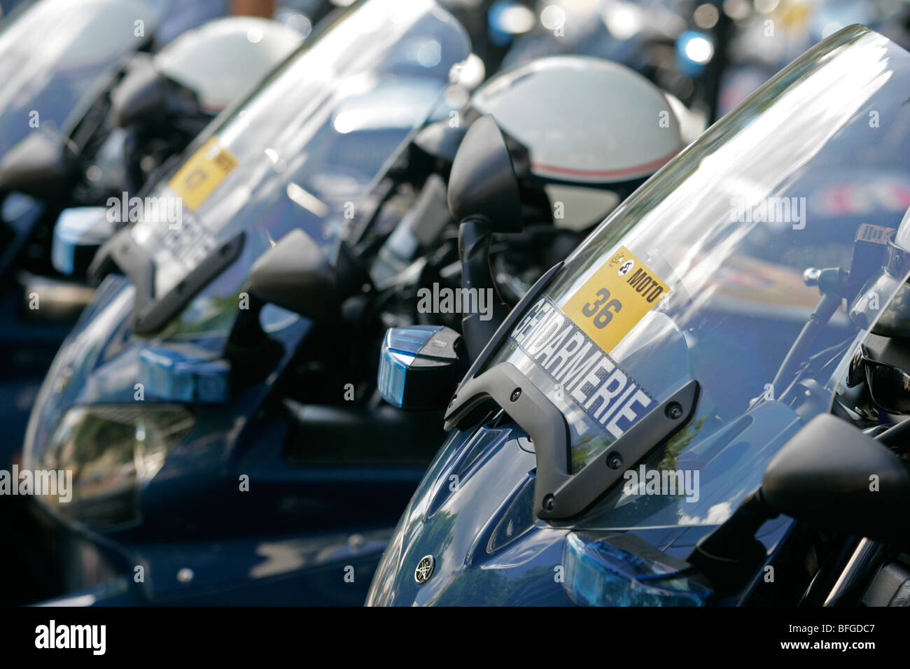 French motorcycle Gendarmerie Police motorbikes - Stock Image