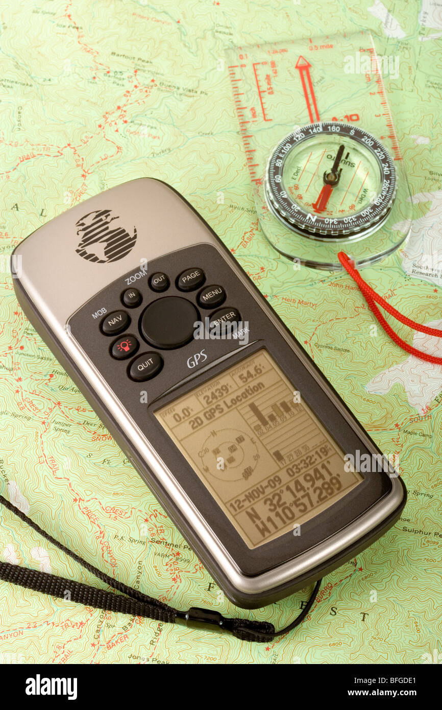 A GPS, compass and Topo map close-up - Stock Image