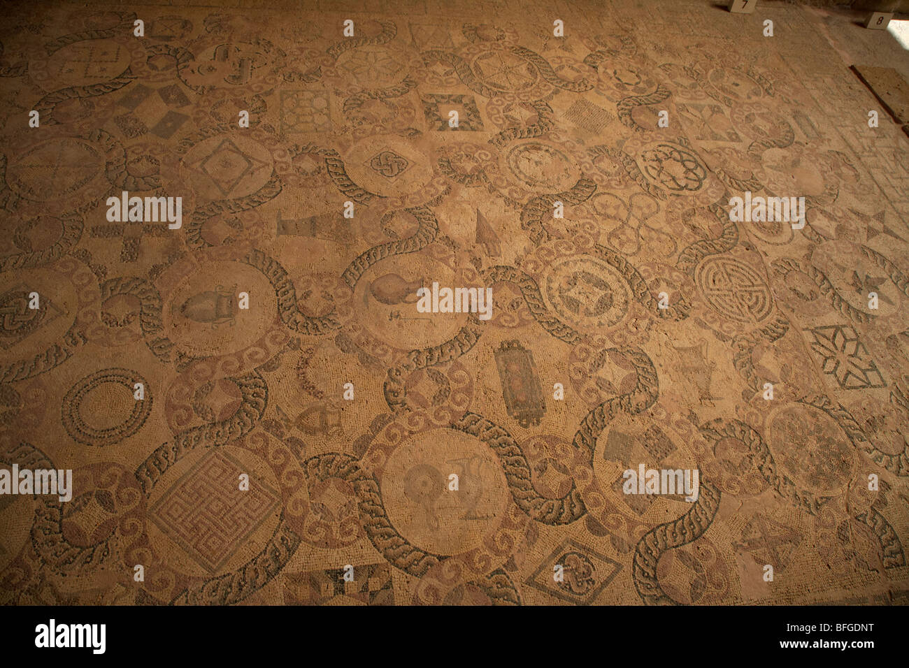 mosaics on the floor of the house of dionysos roman villa at paphos archaeological park republic of cyprus europe - Stock Image