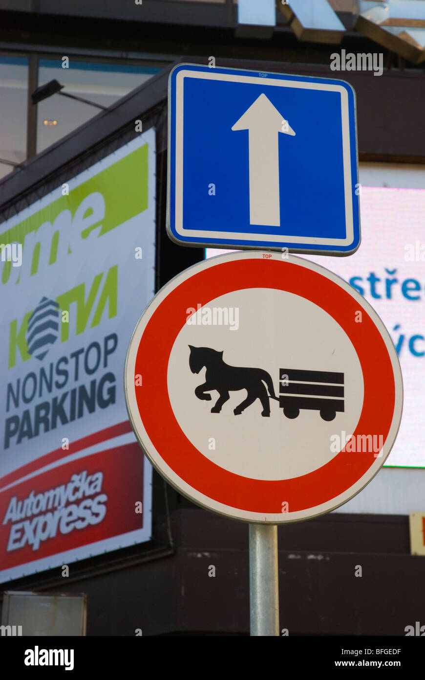 No workhorse carriages allowed in Stare Mesto the old town in Prague Czech Republic Europe - Stock Image