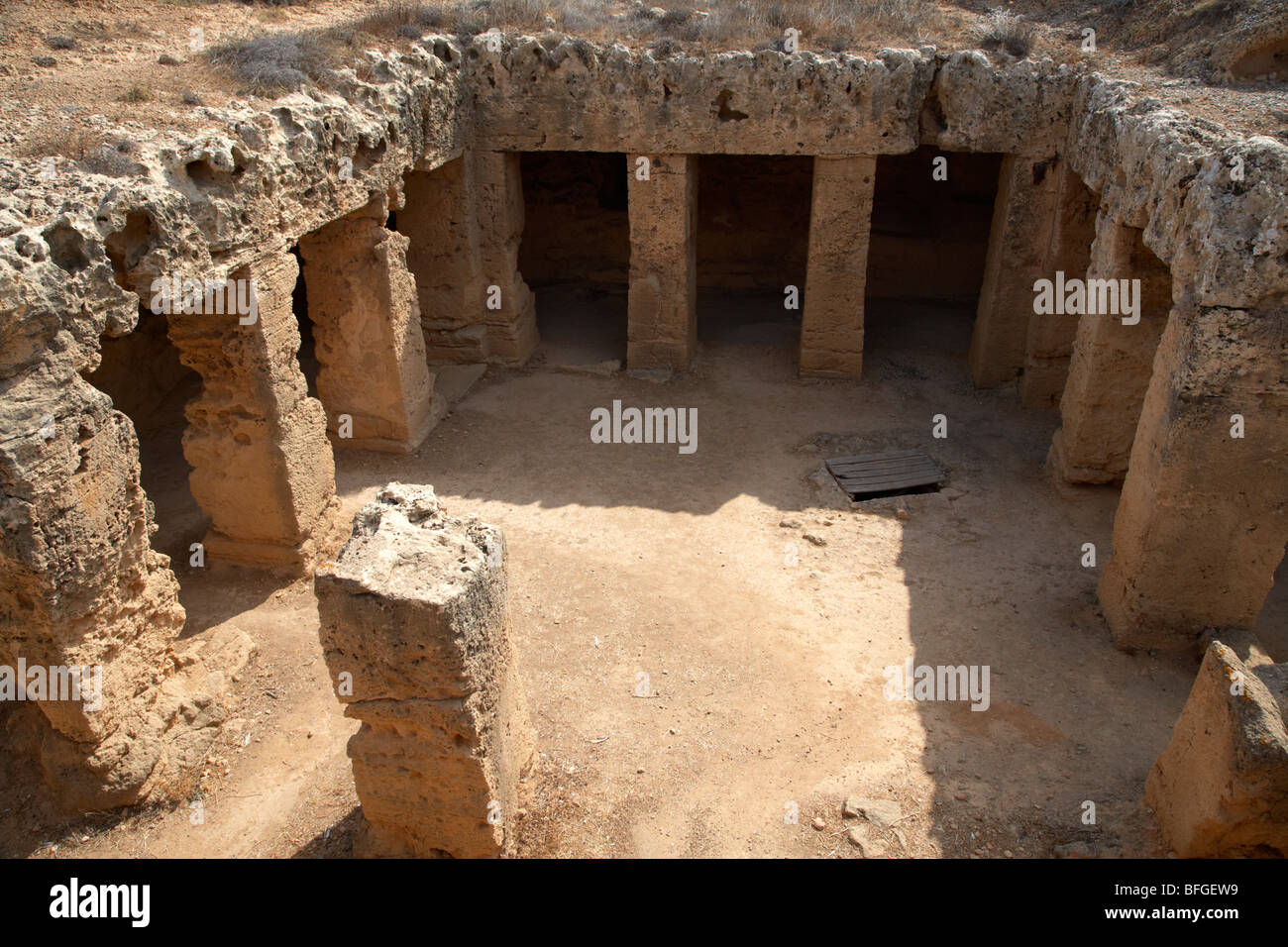 large tomb with pilasters tombs of the kings world heritage site paphos republic of cyprus europe - Stock Image