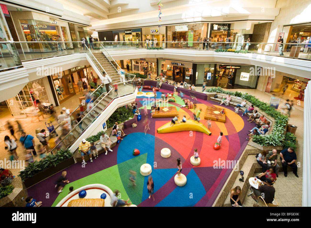 Kids Kourt, Court, corner, area, playground in the Cherry Creek Shopping Mall in Denver Colorado CO US USA - Stock Image