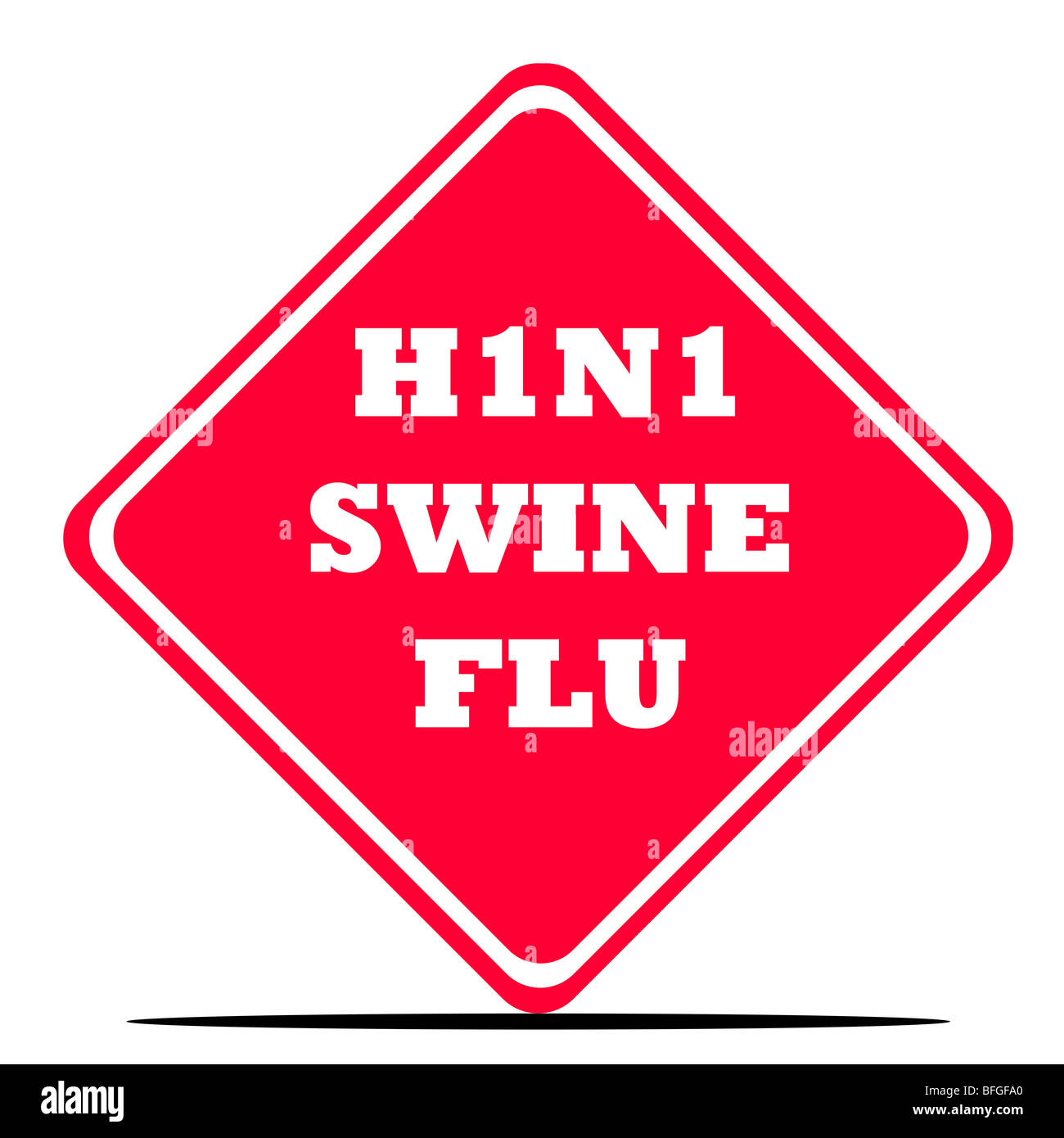 Red H1N1 swine flu diamond shaped sign isolated on white background. - Stock Image