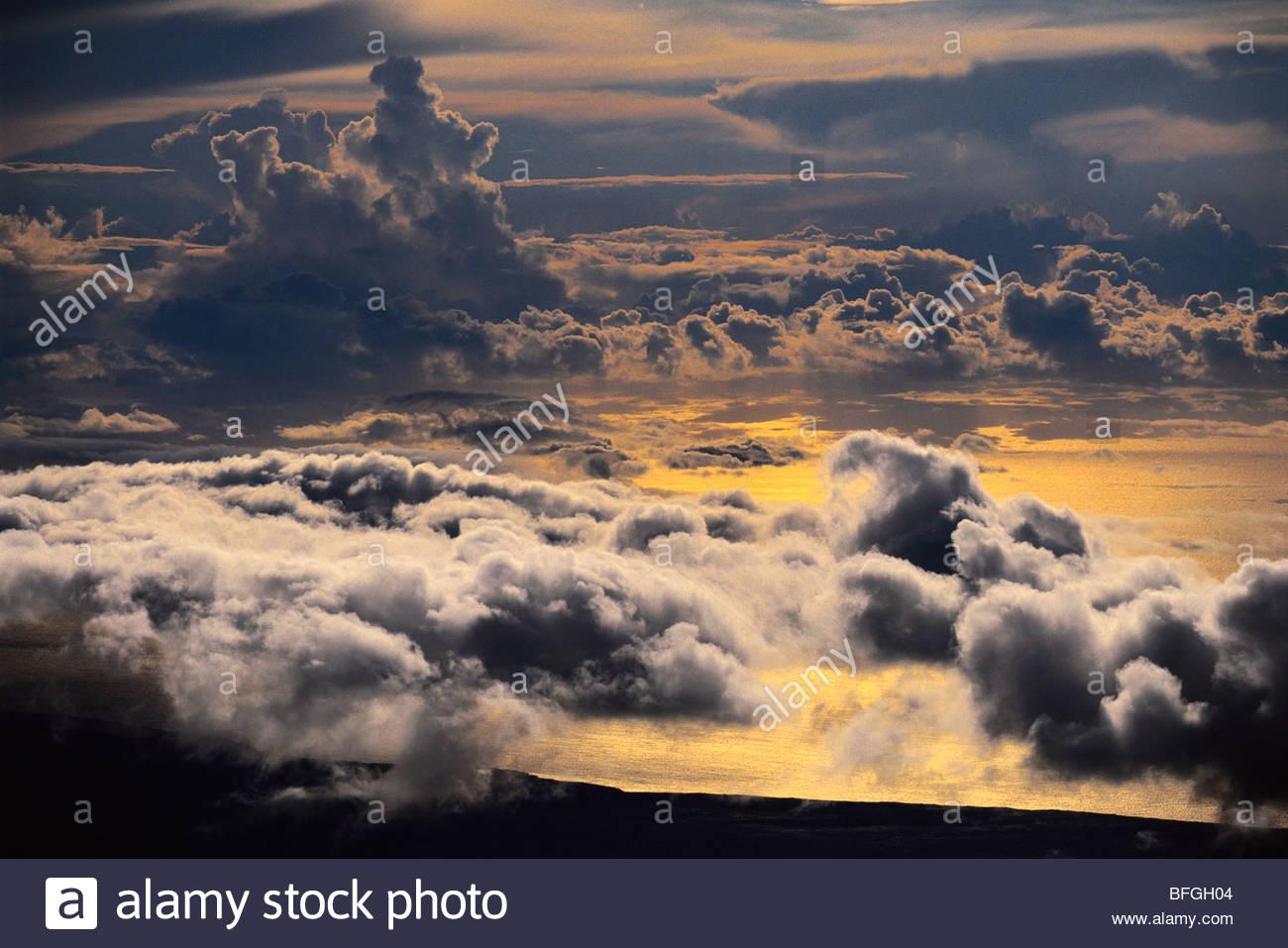 Stormclouds (aerial), Hawaii Volcanoes National Park, Hawaii - Stock Image