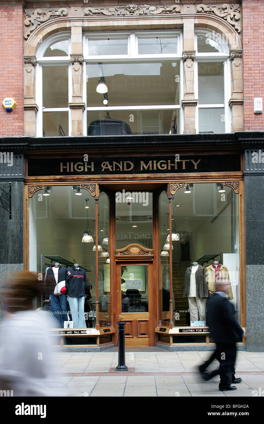 High and Mighty shop in King Edward Street, Victorian Quarter, Leeds, Yorkshire, UK - Stock Image