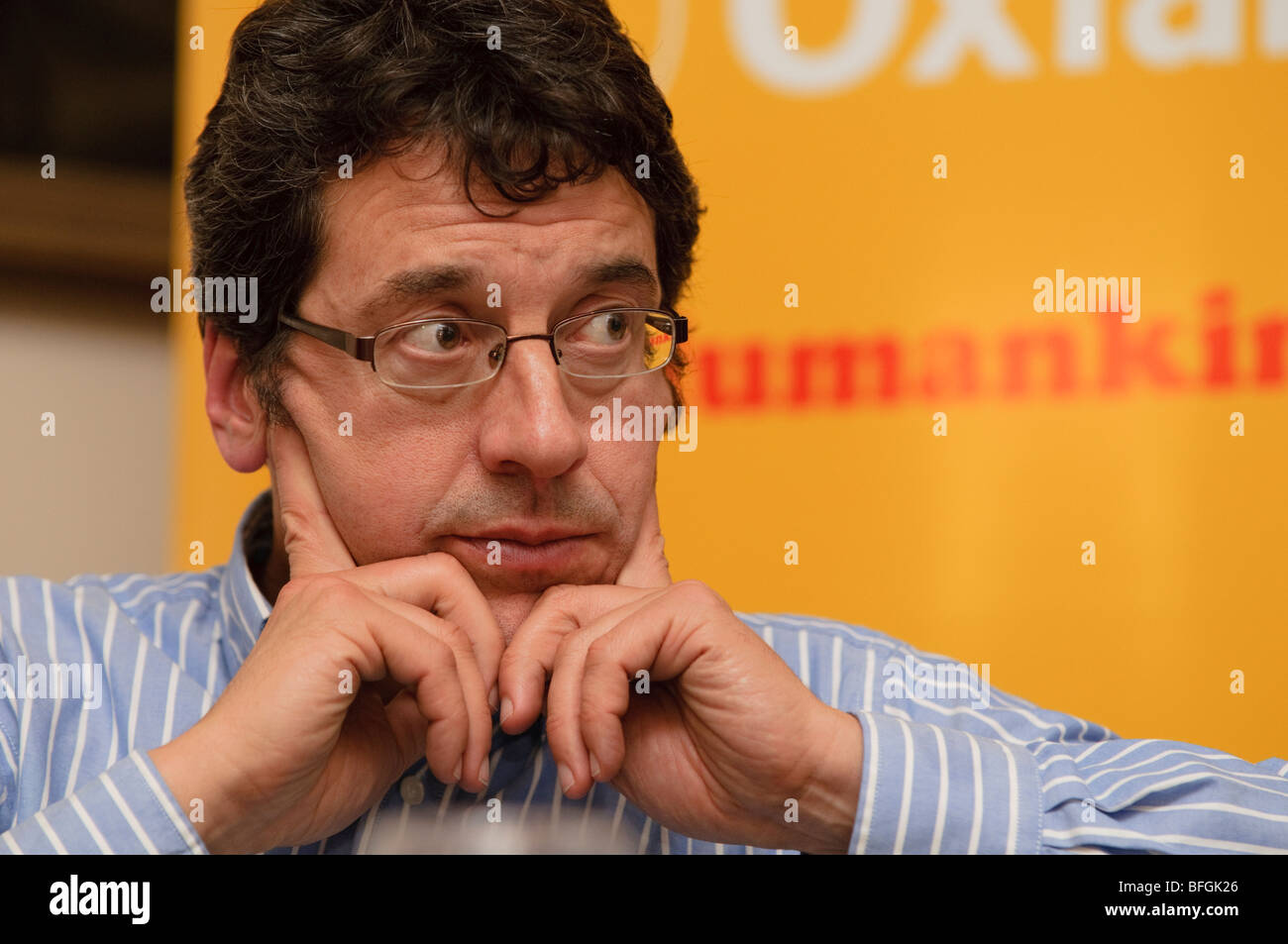 Environmental campaigner and lobbyist GEORGE MONBIOT addressing Oxfam climate change hearing, UK - Stock Image