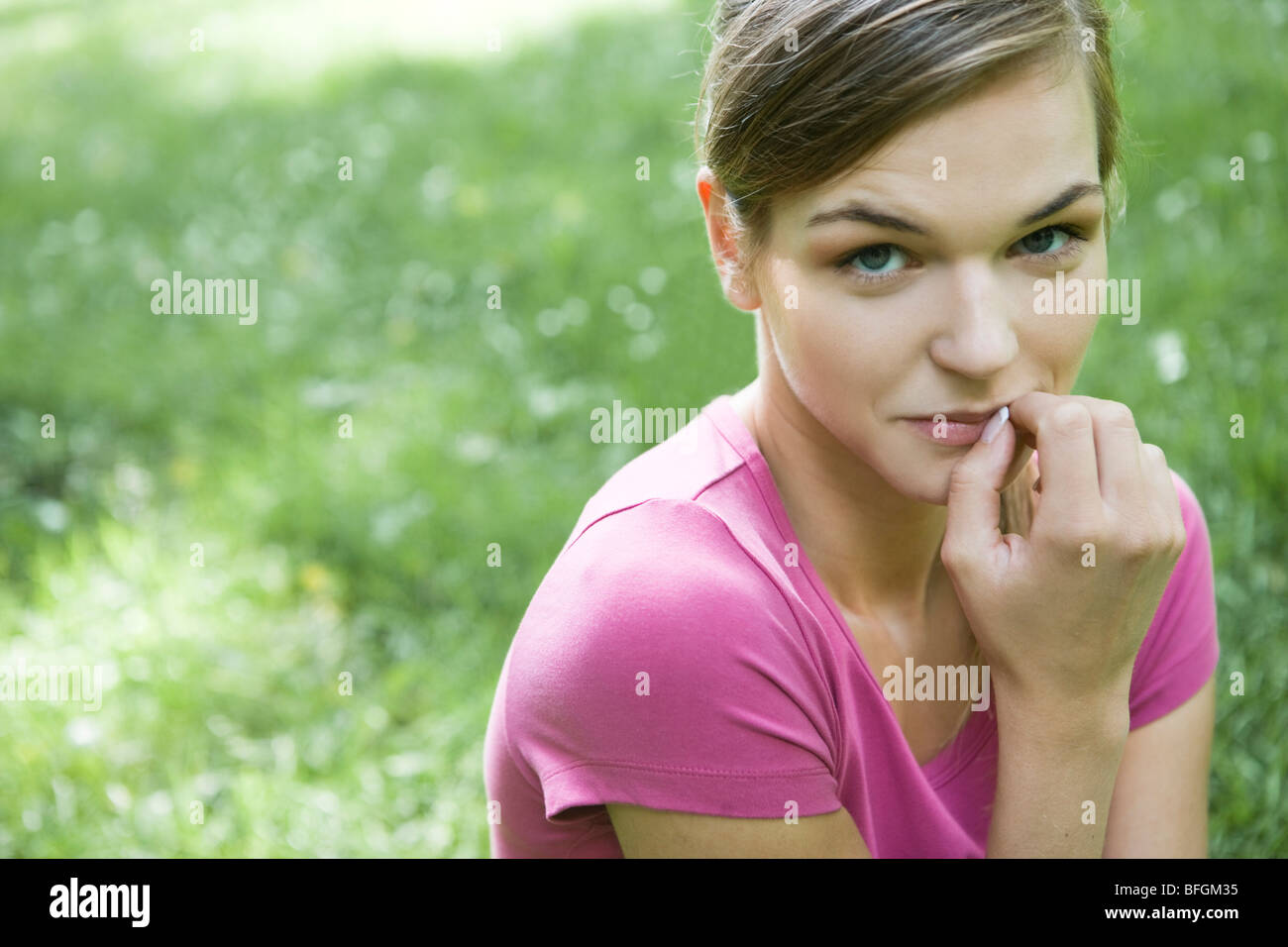 young woman ashamed - Stock Image