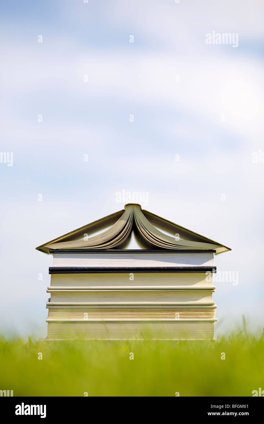 Books on lawn stacked in shape of a house - Stock Image