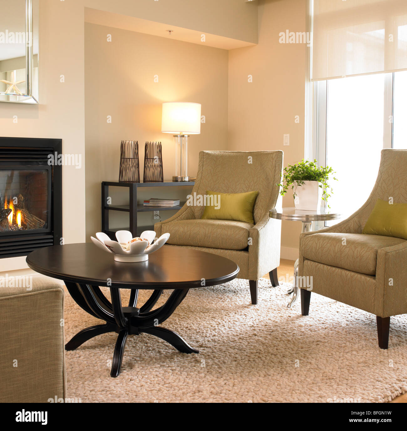 Two armchairs in beige living room, Victoria, British Columbia