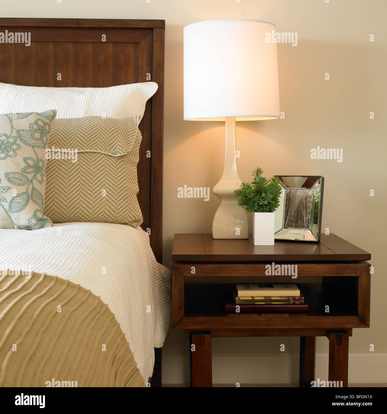 Bed And Bedside Table With Books Mirror And Lamp Victoria