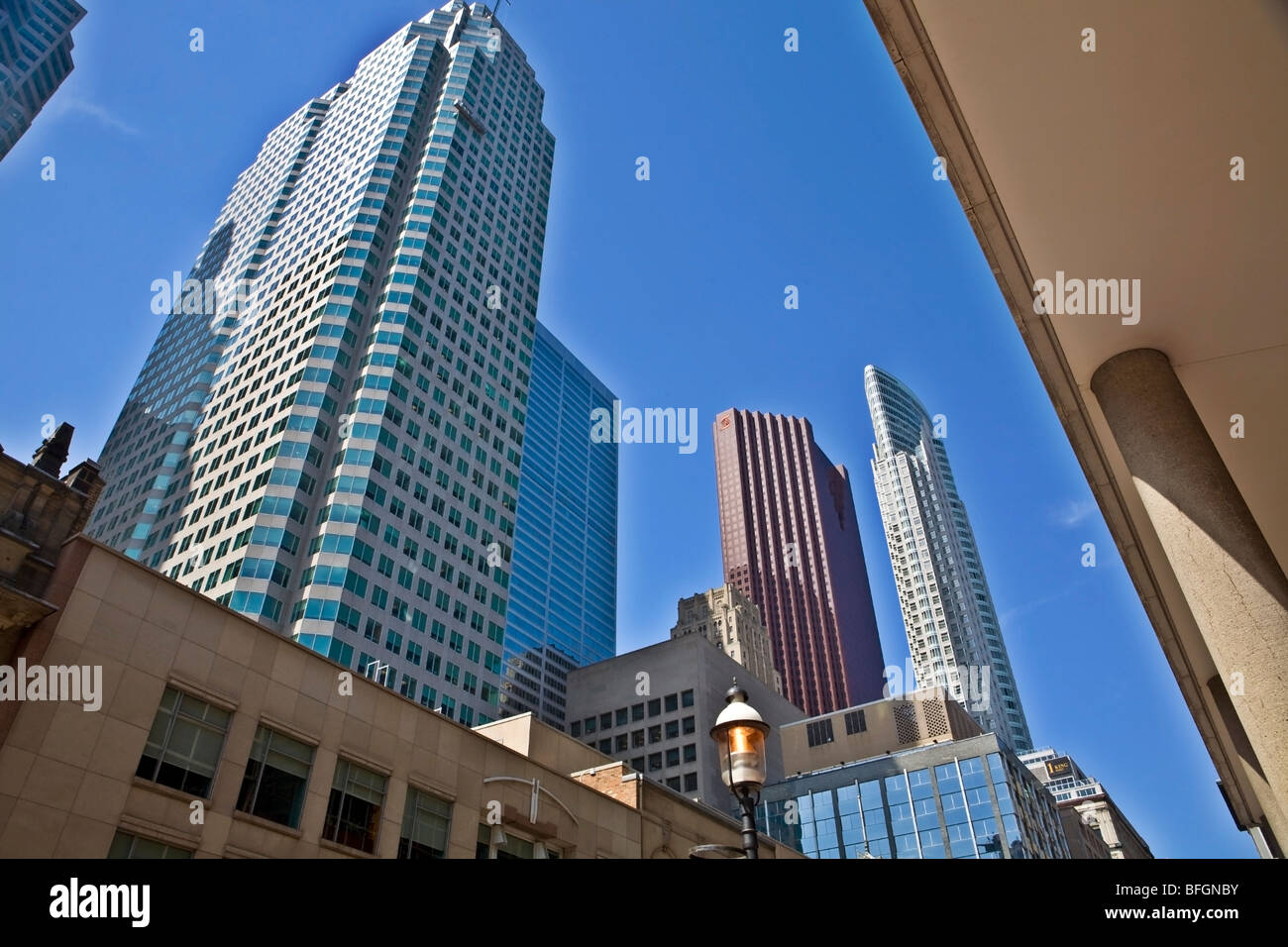 Skyscrapers from Yonge Street, Toronto, Ontario, Canada - Stock Image