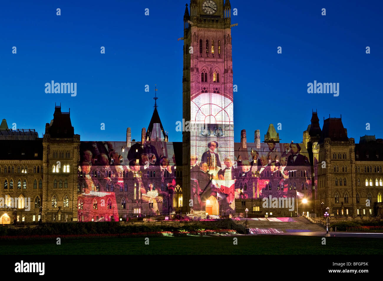 Fathers of Confederation projected on Parliament Building, Ottawa, Ontario, Canada - Stock Image