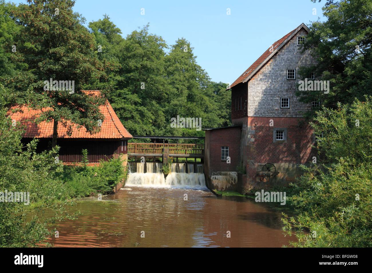 Wassermuehle, Herrenmuehle an der Nordradde in Meppen, Emsland, Niedersachsen - Stock Image