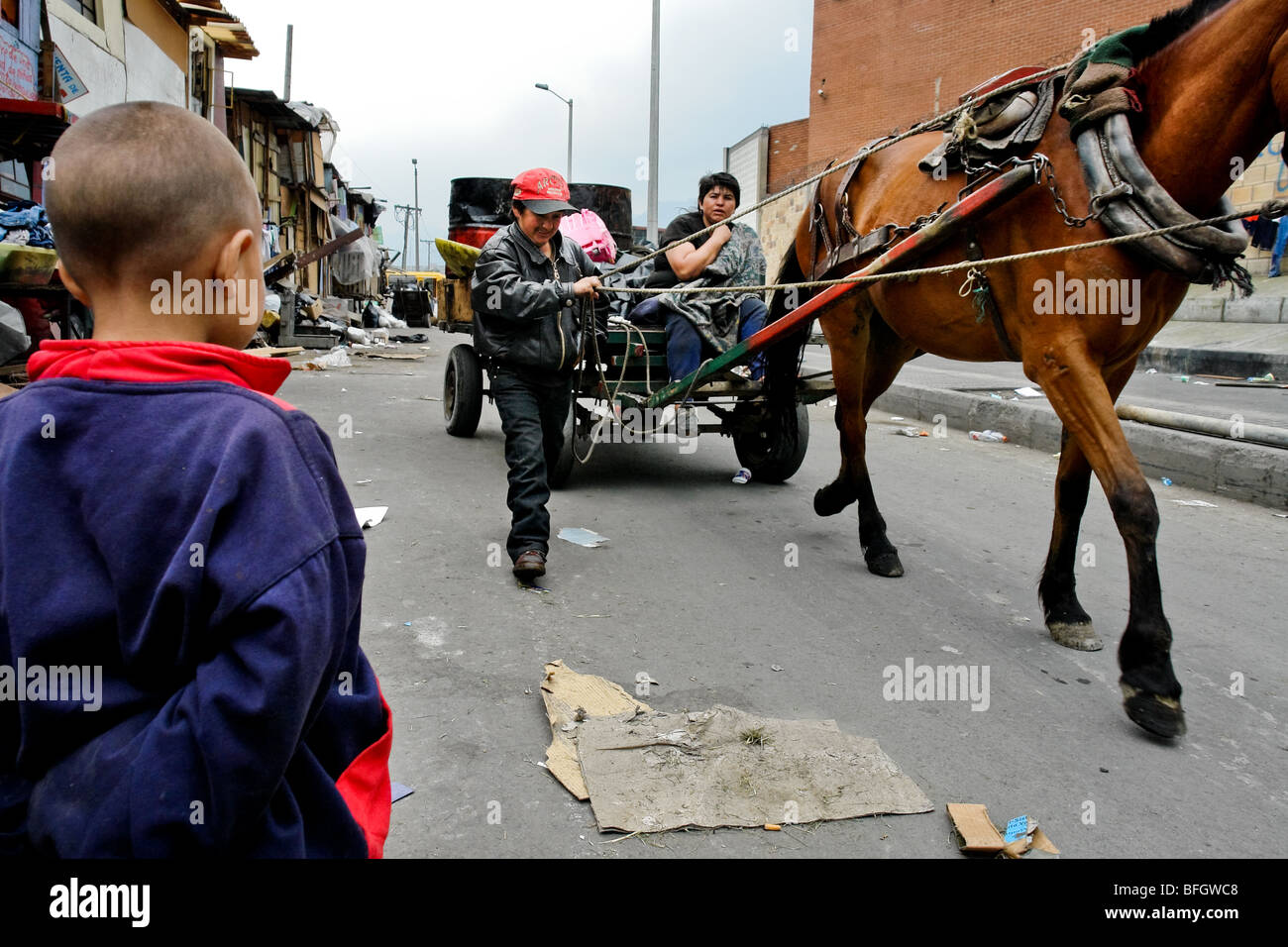 The armed conflict together with lack of social network caused appearence of illegal invasion slums in urban zones - Stock Image
