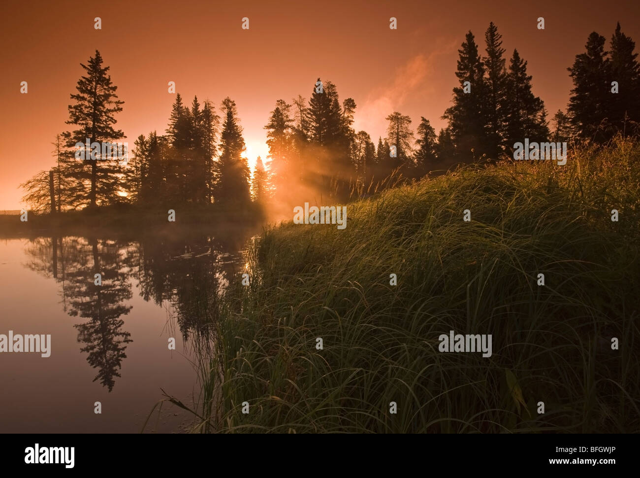 Sunrise at Whirlpool Lake. Riding Mountain National Park, Manitoba, Canada - Stock Image