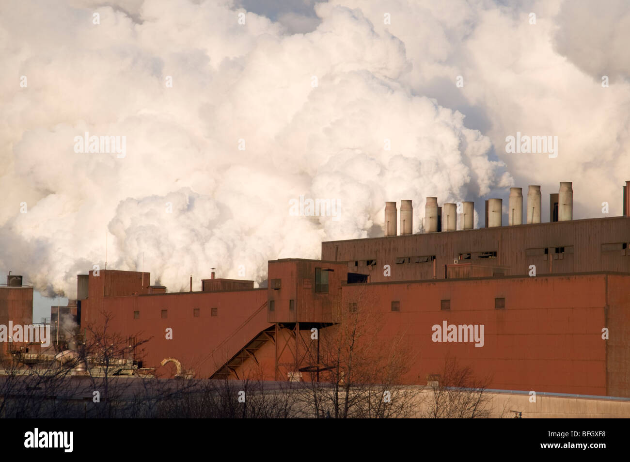 Exhaust coming from Northshore Mining Company, a Taconite processing facility in Silver Bay, Minnesota, USA - Stock Image
